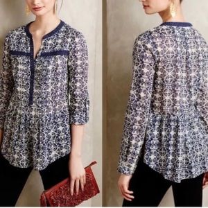 Anthropologie MAEVE Roll Tab Long Sleeves Blouse S